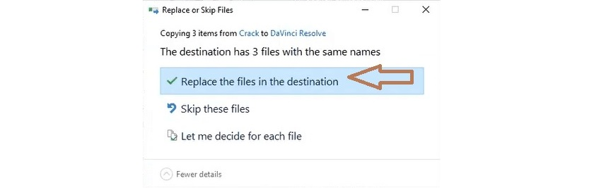 bấm Replace the files in the destination để thay thế các file