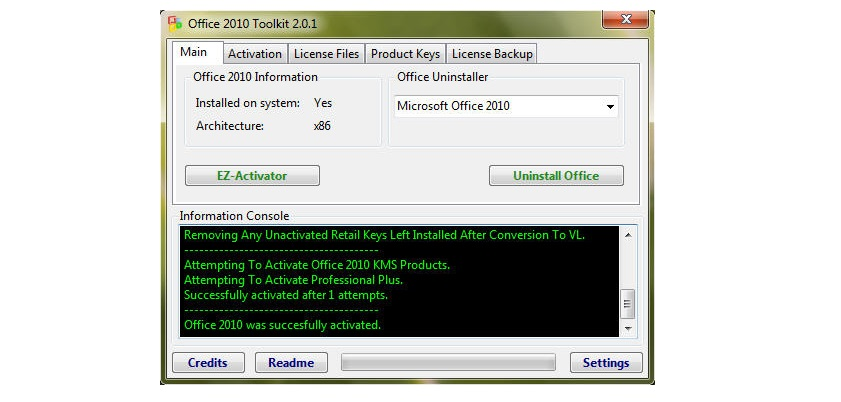 Crack bằng Office 2010 Toolkit