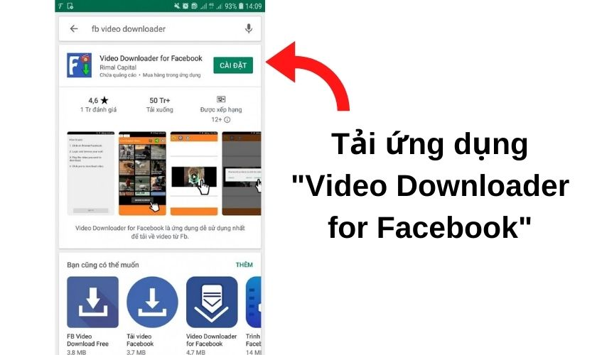 """tải ứng dụng """"video Downloader for Facebook"""" từ CH PLAY"""