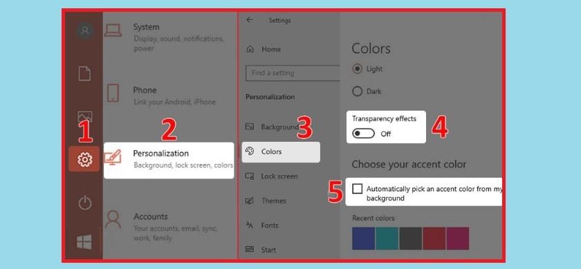 Tắt màu tự động của Windows 10 và tắt hiệu ứng trong suốt